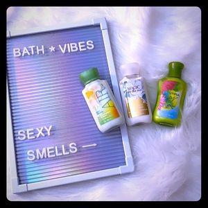 Bath And Body Works trio body lotion.
